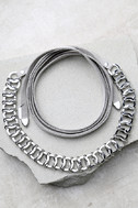 Reign Supreme Silver and Grey Wrap Necklace 2