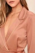 Morning Star Blush Pink Satin Long Sleeve Romper 5