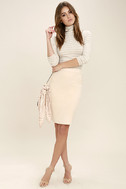 Superpower Light Beige Suede Pencil Skirt 2