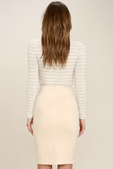Superpower Light Beige Suede Pencil Skirt 3