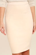 Superpower Light Beige Suede Pencil Skirt 5