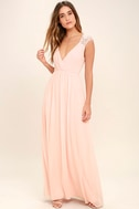 Whimsical Wonder Blush Pink Lace Maxi Dress 1