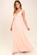 Whimsical Wonder Blush Pink Lace Maxi Dress 2