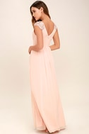 Whimsical Wonder Blush Pink Lace Maxi Dress 3