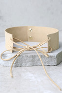 Be Good Beige Lace-Up Choker Necklace 2