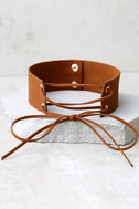 Be Good Brown Lace-Up Choker Necklace 2