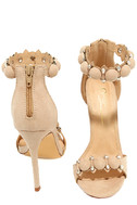 Meredith Nude Suede Ankle Strap Heels 3