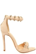 Meredith Nude Suede Ankle Strap Heels 4