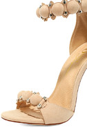 Meredith Nude Suede Ankle Strap Heels 6