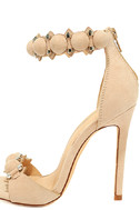 Meredith Nude Suede Ankle Strap Heels 7