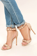 Meredith Nude Suede Ankle Strap Heels 1