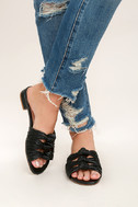 Kensie Kylee Black Knotted Slide Sandals 2