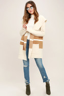 Carlsbad Tan and Beige Hooded Cardigan Sweater 2