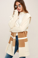 Carlsbad Tan and Beige Hooded Cardigan Sweater 3