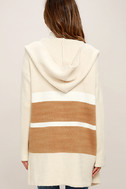 Carlsbad Tan and Beige Hooded Cardigan Sweater 4