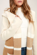 Carlsbad Tan and Beige Hooded Cardigan Sweater 5