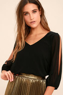 Daily Romance Black Long Sleeve Top 1