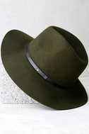 Wander About Olive Green Wool Fedora Hat 3