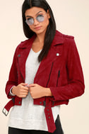 Blank NYC Backhanded Red Suede Leather Moto Jacket 3
