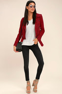 Blank NYC Backhanded Red Suede Leather Moto Jacket 2