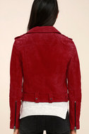 Blank NYC Backhanded Red Suede Leather Moto Jacket 4