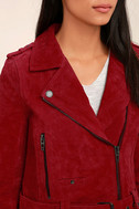 Blank NYC Backhanded Red Suede Leather Moto Jacket 5