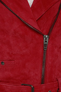 Blank NYC Backhanded Red Suede Leather Moto Jacket 6
