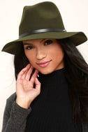 Wander About Olive Green Wool Fedora Hat 1