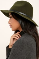 Wander About Olive Green Wool Fedora Hat 2