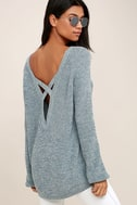 Pursuit of Happiness Heather Blue Backless Sweater 1