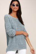 Pursuit of Happiness Heather Blue Backless Sweater 3