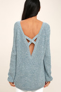 Pursuit of Happiness Heather Blue Backless Sweater 4
