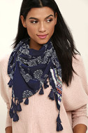 Fun and Games Navy Blue Print Scarf 4