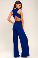 Thinking Out Loud Royal Blue Backless Jumpsuit 1