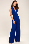 Thinking Out Loud Royal Blue Backless Jumpsuit 3