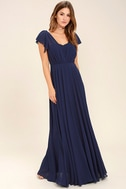 Falling For You Navy Blue Maxi Dress 2