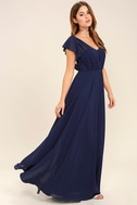 Falling For You Navy Blue Maxi Dress 3
