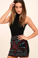 Enviable Black Beaded Mini Skirt 1
