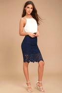 Swoon-light Navy Blue Lace Midi Skirt 2