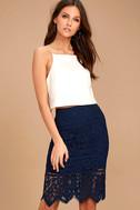 Swoon-light Navy Blue Lace Midi Skirt 1