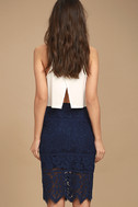 Swoon-light Navy Blue Lace Midi Skirt 3