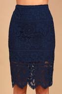 Swoon-light Navy Blue Lace Midi Skirt 4
