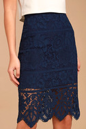 Swoon-light Navy Blue Lace Midi Skirt 5