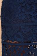 Swoon-light Navy Blue Lace Midi Skirt 6