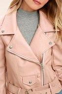 Tough Girl Blush Pink Vegan Leather Moto Jacket 5