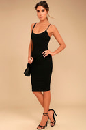 Absolutely Astounding Black Bodycon Midi Dress 2
