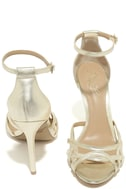 Jewel by Badgley Mischka Haskell II Gold Ankle Strap Heels 3