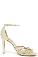 Jewel by Badgley Mischka Haskell II Gold Ankle Strap Heels 4