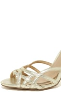 Jewel by Badgley Mischka Haskell II Gold Ankle Strap Heels 6