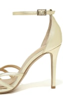 Jewel by Badgley Mischka Haskell II Gold Ankle Strap Heels 7